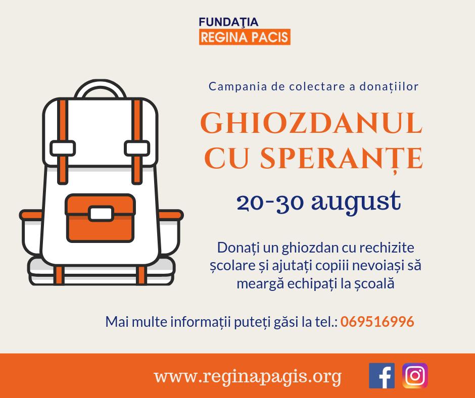 Fundația Regina Pacis dă startul campaniei de colectare a rechizitelor școlare în susținerea copiilor aflați în dificultate